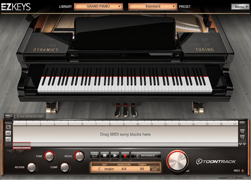 Toontrack EZKeys Grand Piano Review main plugin image