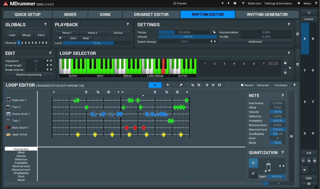 MeldaProduction MDrummer Review rhythm editor